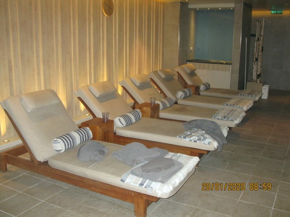 Comfortable loungers in the spa