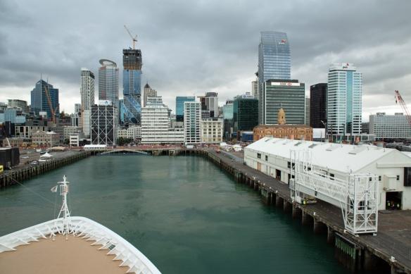 Departing berth in Auckland