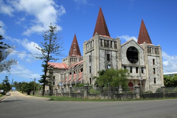 Free church of Tonga looking towards ocean