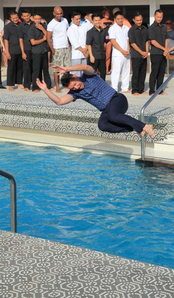 HR director leaping into the water