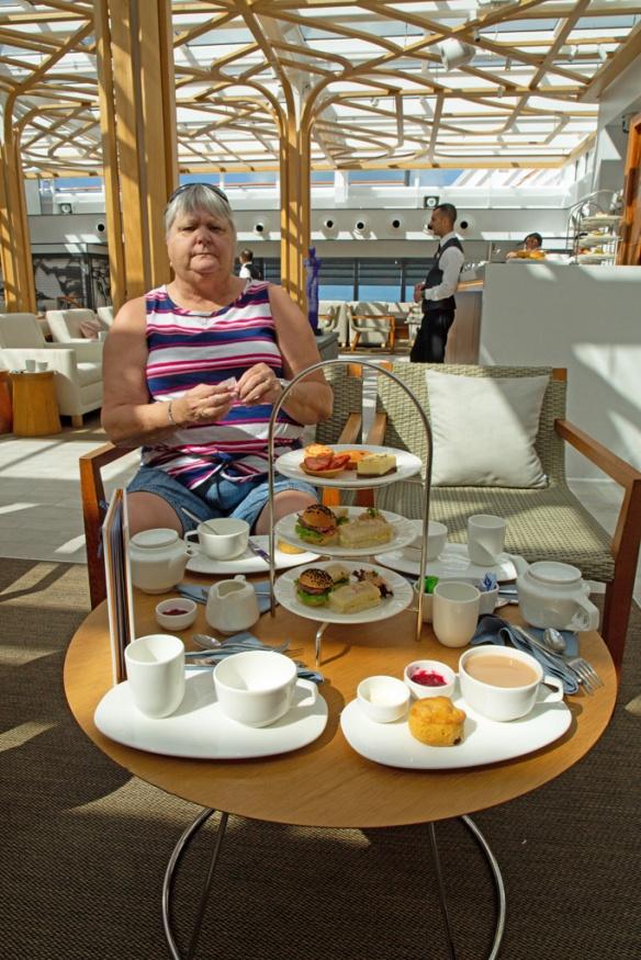 Judi at afternoon tea