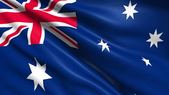 Australian flag with fabric structure
