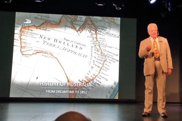 Bill Simpson presenting history of Australia