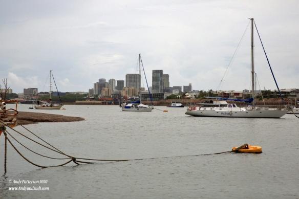 Boats at moorings and downtown
