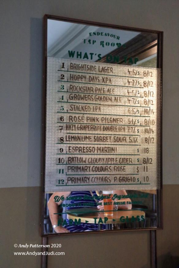 Endeavour Tap Room beer list