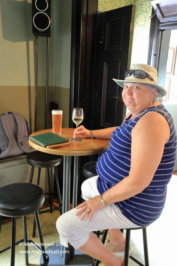 Endeavour Tap Room Judi enjoying glass of wine