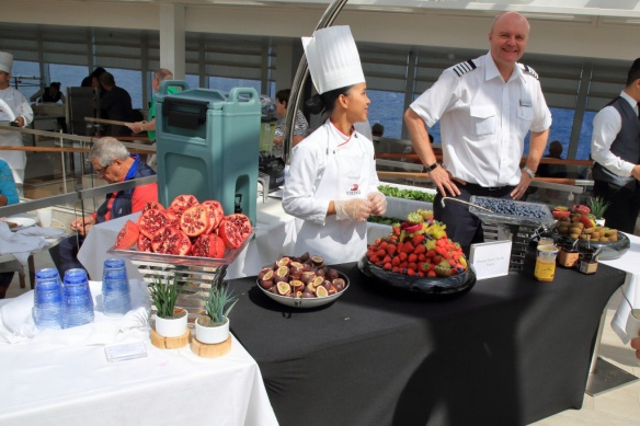 Fresh fruit station with Hotel GM Norbert