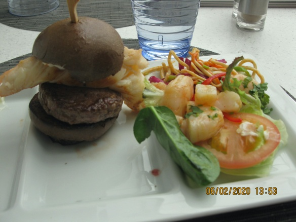 Lobster burger and salad