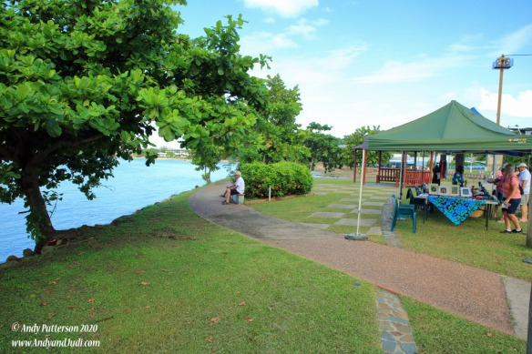 Promenade with vendors, shady trees and benches to sit