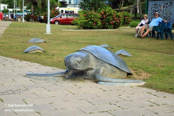 Turtle artwork on promenade