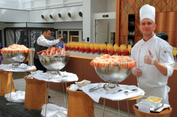 Vats of Prawns and Crab legs with Boody Marys and Mimosa