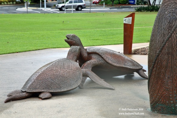 Wharf turtle sculpture