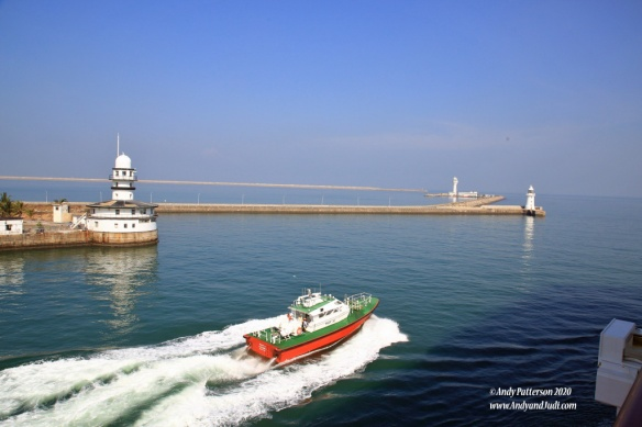 Colombo breakwaters and pilot boat
