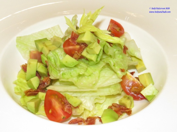 Dinner 30th March bacon avacado salad