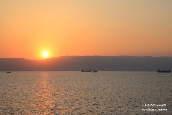 Approaching Suez anchorages at sunset 2
