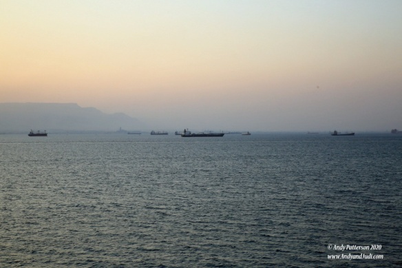 Suez anchorages with ships waiting for convoy