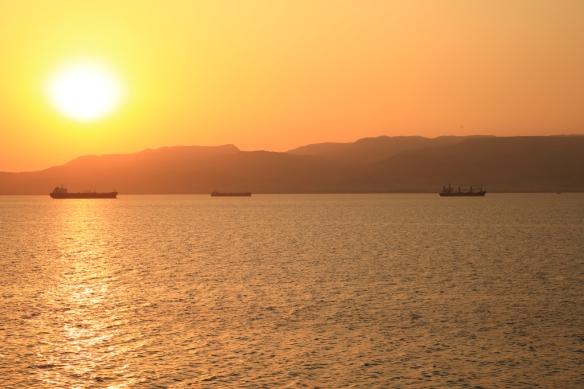 Sunset ove Suez anchorages
